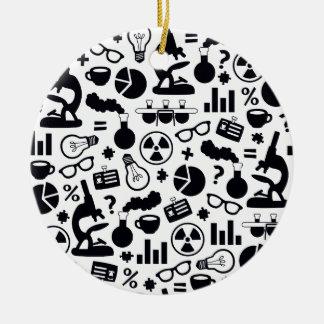 Science Pattern black on white Ceramic Ornament