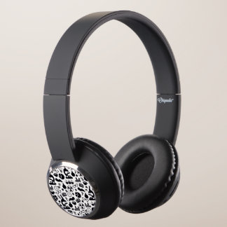 Science Pattern black on white Headphones