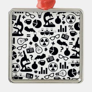 Science Pattern black on white Metal Ornament