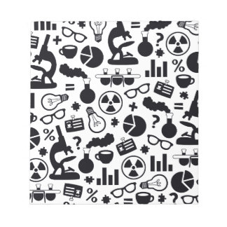 Science Pattern black on white Notepad