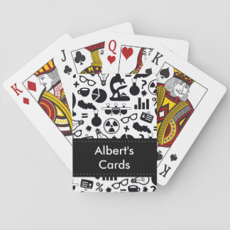 Science Pattern black on white Playing Cards
