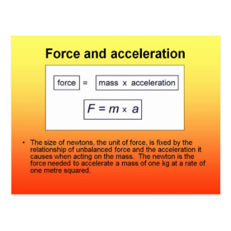 Science, Physics, Force and acceleration Post Card