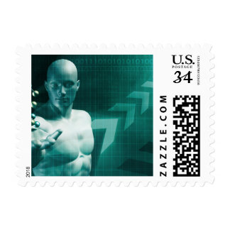 Science Professional Holding Molecule Structure in Postage Stamp