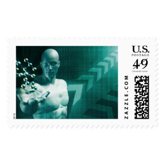 Science Professional Holding Molecule Structure in Stamp