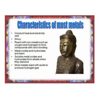 Science, Reactivity,  Characterics of metals Postcard