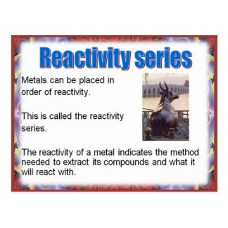 Science, Reactivity,  Reactivity series Postcard