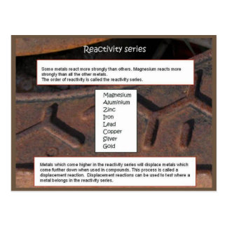 Science, Reactivity series Postcard
