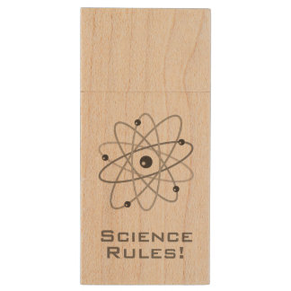 Science Rules! - Atom (006) Wood Flash Drive