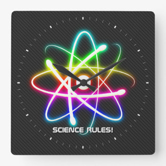 Science Rules! - Colorful Atom | Wall Clock
