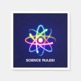 SCIENCE RULES! Colorful Glowing Atom Symbol Standard Cocktail Napkin