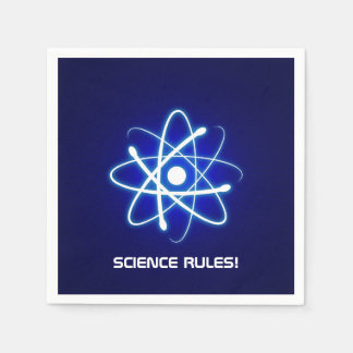 SCIENCE RULES! Cool Glowing Atom Symbol Standard Cocktail Napkin
