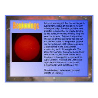 Science,  Solar System, Beginnings Postcard