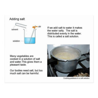 Science, Solutions, Adding Salt, Postcard