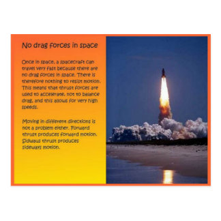 Science, Space, No drag in space Postcard