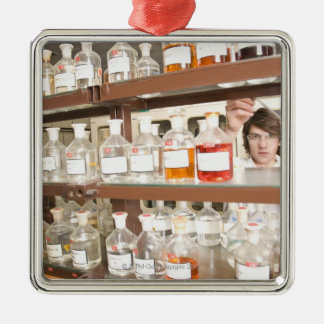 Science student in classroom metal ornament