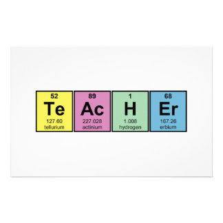 Science Teacher Chemical Elements Stationery