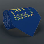 """Science Teacher Custom Name Periodic Table Navy Neck Tie<br><div class=""""desc"""">A navy colored tie featuring a periodic table custom name element for yours or your gift recipients information.</div>"""