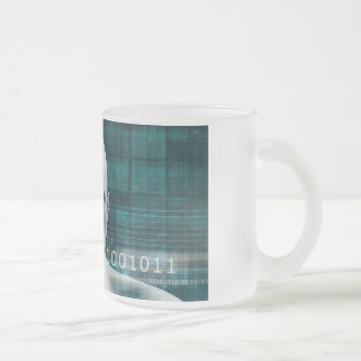 Science Technology Background as a Digital Binary Frosted Glass Coffee Mug