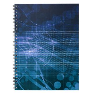 Science Technology Blue Spiral Notebook