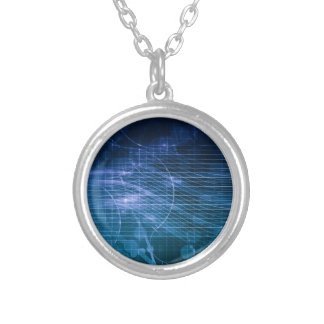 Science Technology Blue Round Pendant Necklace