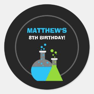 Science Theme Personalized Birthday Classic Round Sticker