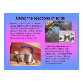 Science, Using the reactions of acids Postcard