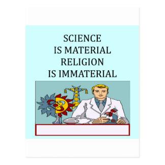 science vs religion joke postcard