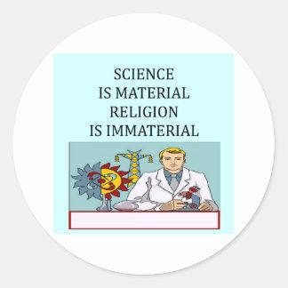 science vs religion joke round sticker