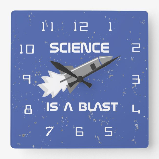 Science Wall Clock Science is a Blast Rocket Pun