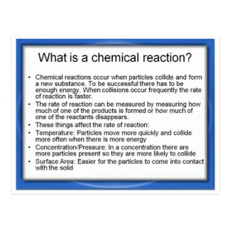 Science, What is a chemical reaction? Postcard