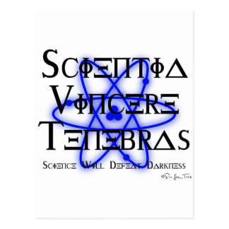 Science Will Defeat Darkness (blue) Postcard