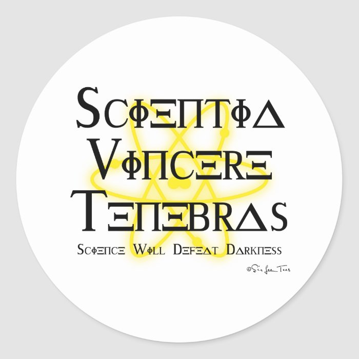 Science Will Defeat Darkness (yellow) Classic Round Sticker