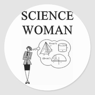 SCIENCE WOMAN ROUND STICKERS