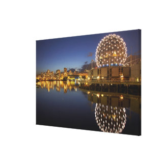 Science World and CBD reflected in False Creek, Gallery Wrapped Canvas