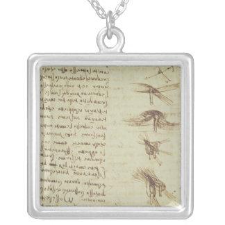 Scientific diagrams silver plated necklace