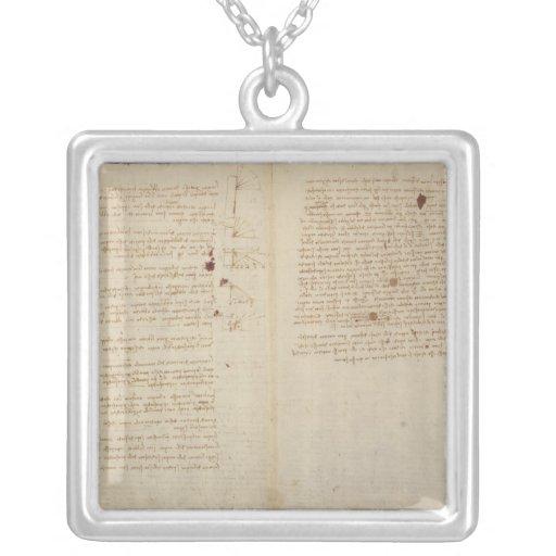 Scientific diagrams square pendant necklace