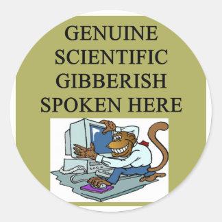 scientific gibberish round stickers