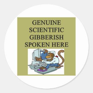 scientific gibberish round sticker