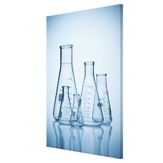 Scientific glassware blue stretched canvas prints