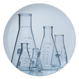 Scientific glassware blue party plate
