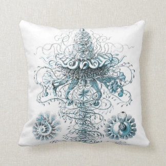 Scientific Illustration Blue and White Pillow