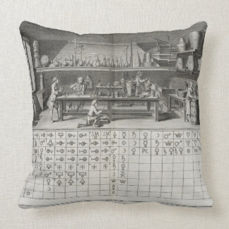 Scientific laboratory and table of chemical signs, throw pillow