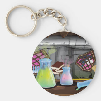 Scientific Laboratory with flasks and equipment Basic Round Button Keychain