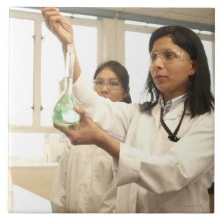 Scientist adding solution to beaker tile