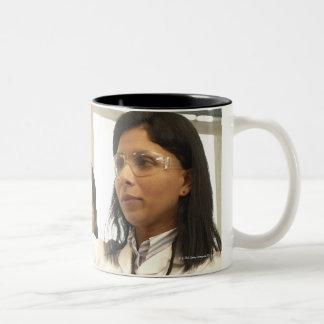 Scientist adding solution to beaker Two-Tone coffee mug