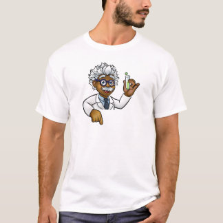 Scientist Cartoon Character Holding Test Tube T-Shirt