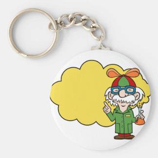 Scientist Cartoon Character Basic Round Button Keychain