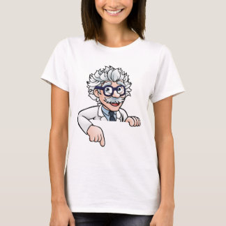 Scientist Cartoon Character Pointing Down T-Shirt