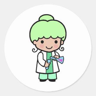 Scientist Girl Classic Round Sticker