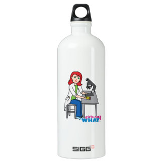 Scientist Girl - Light/Red Water Bottle